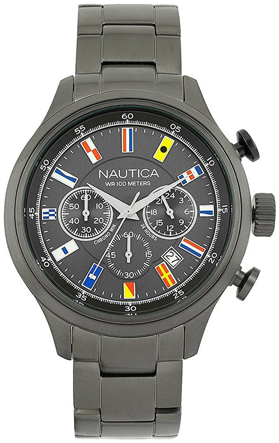 Nautica Nct Herreklokke NAI20011G Grå/Stål Ø44 mm - Nautica
