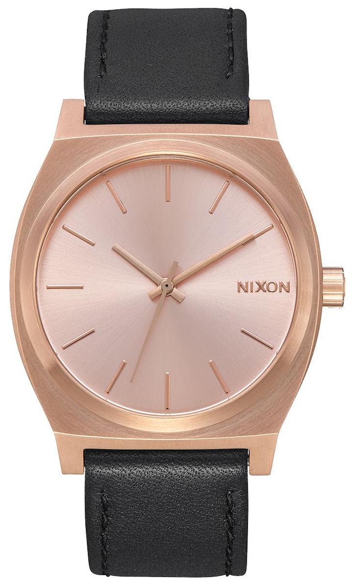 Nixon The Time Teller Herreklokke A0451932-00 Rosegullfarget/Lær - Nixon