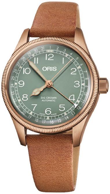 Oris Aviation 01 754 7749 3167-07 5 17 66BR Grønn/Lær Ø36 mm - Oris