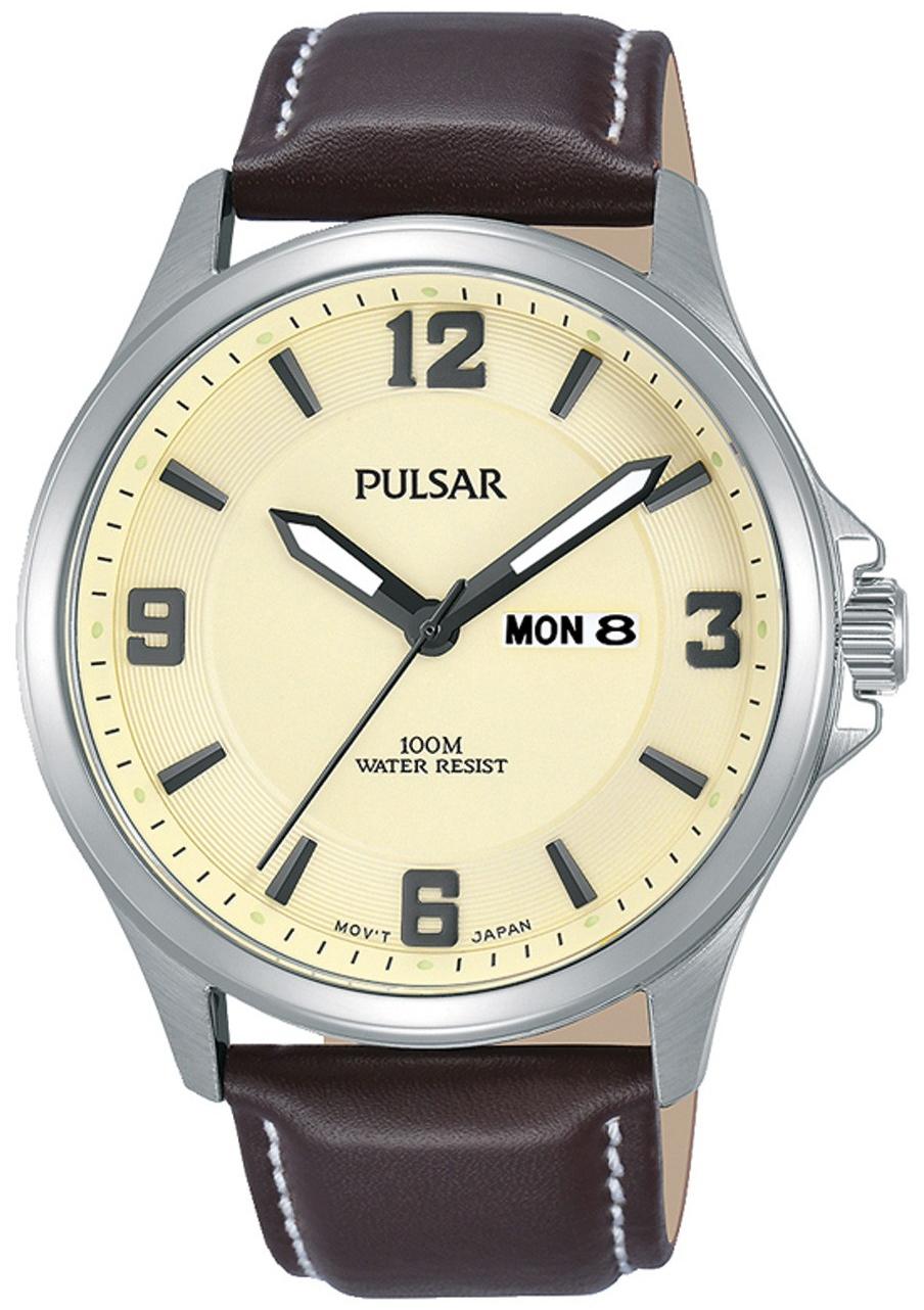 Pulsar Dress Herreklokke PJ6085X1 Champagnefarget/Lær Ø42 mm - Pulsar