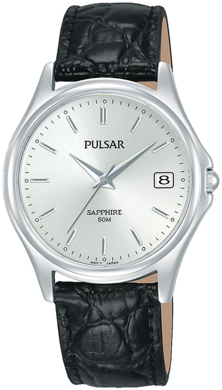 Pulsar 99999 Herreklokke PXHA71X1 Sølvfarget/Lær Ø35 mm - Pulsar