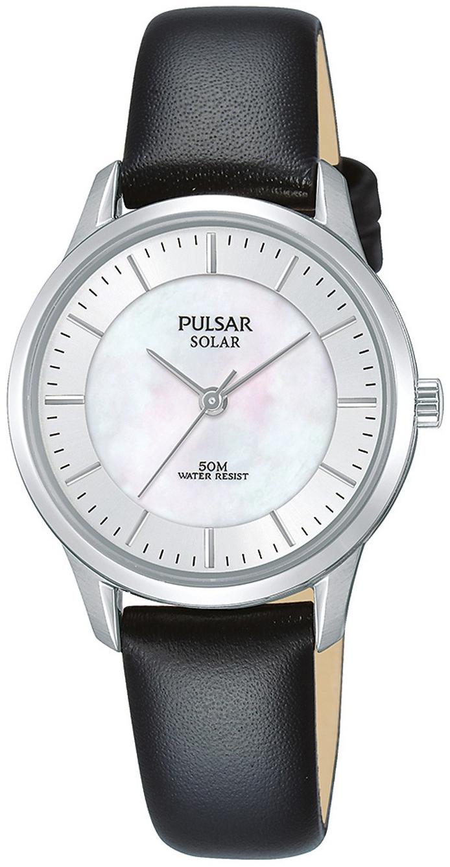Pulsar Solar Dameklokke PY5043X1 Hvit/Lær Ø29 mm - Pulsar