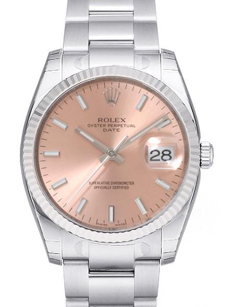 Rolex Oyster Perpetual Date Herreklokke 115234-0006 Rosa/Stål Ø34 mm - Rolex