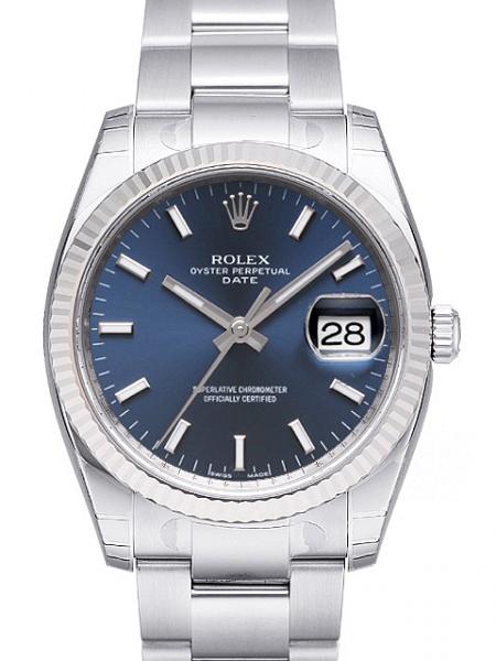 Rolex Oyster Perpetual Date Herreklokke 115234-0004 Blå/Stål Ø34 mm - Rolex