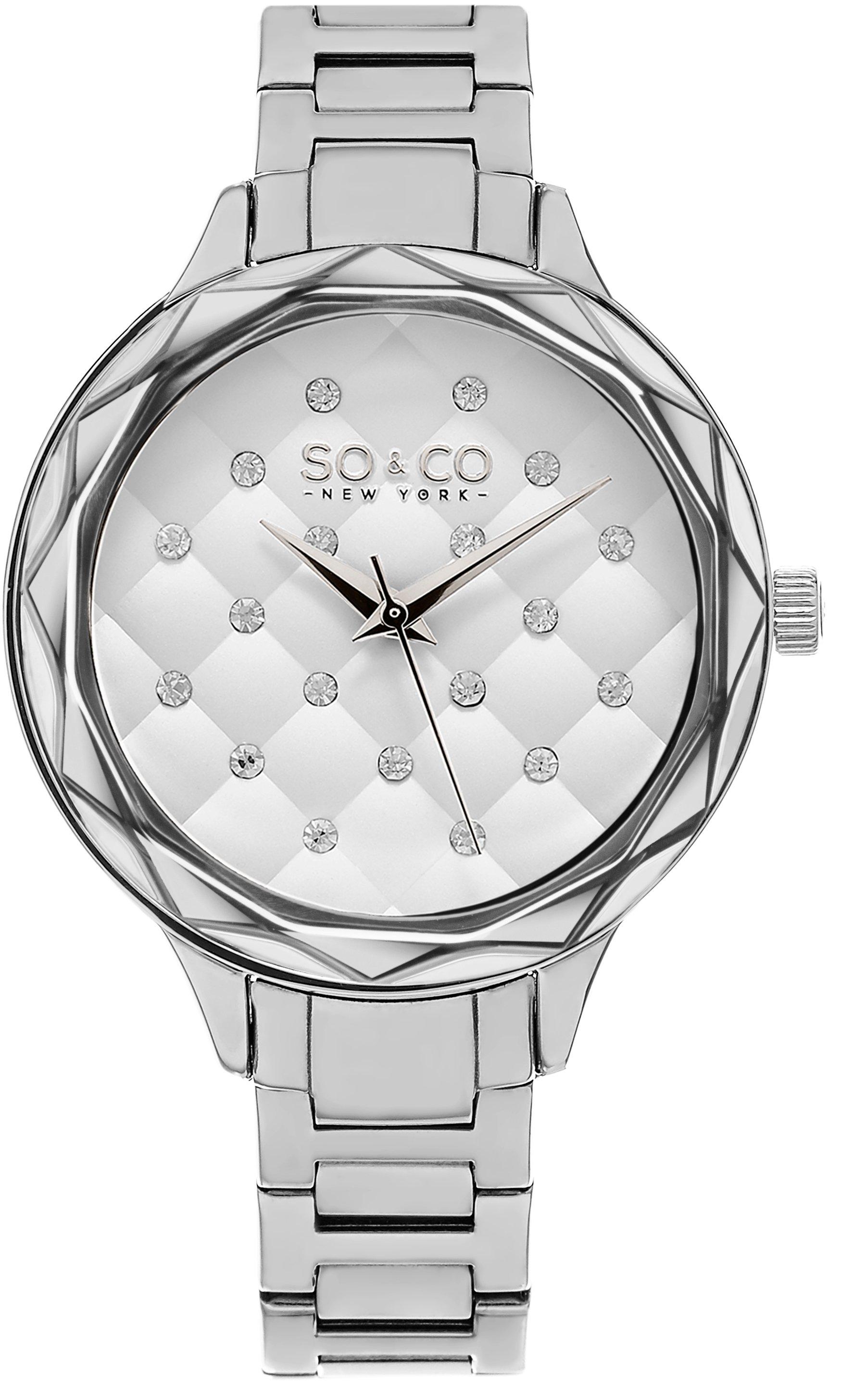 So & Co New York Lenox Dameklokke 5255.1 Hvit/Stål Ø38 mm - So & Co New York