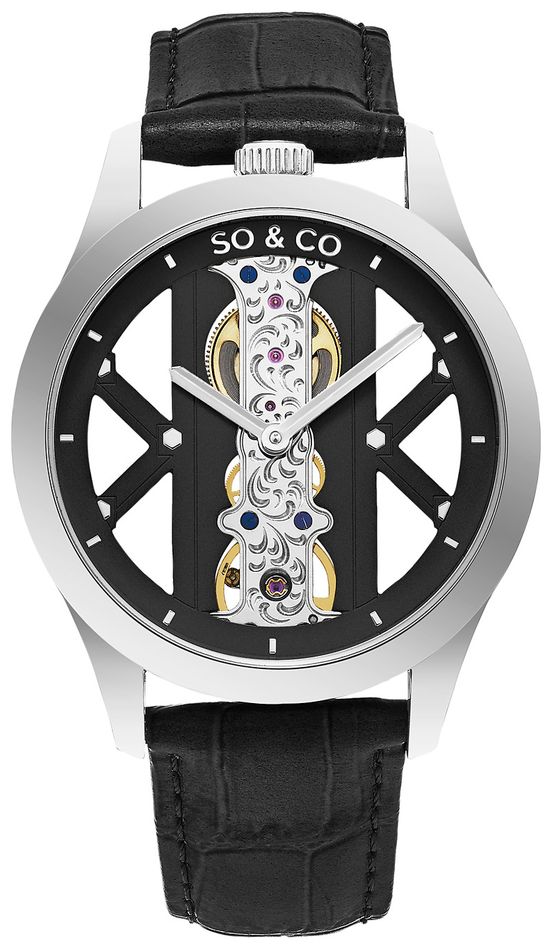 So & Co New York Madison Herreklokke 5419.1 Sort/Lær Ø40 mm - So & Co New York