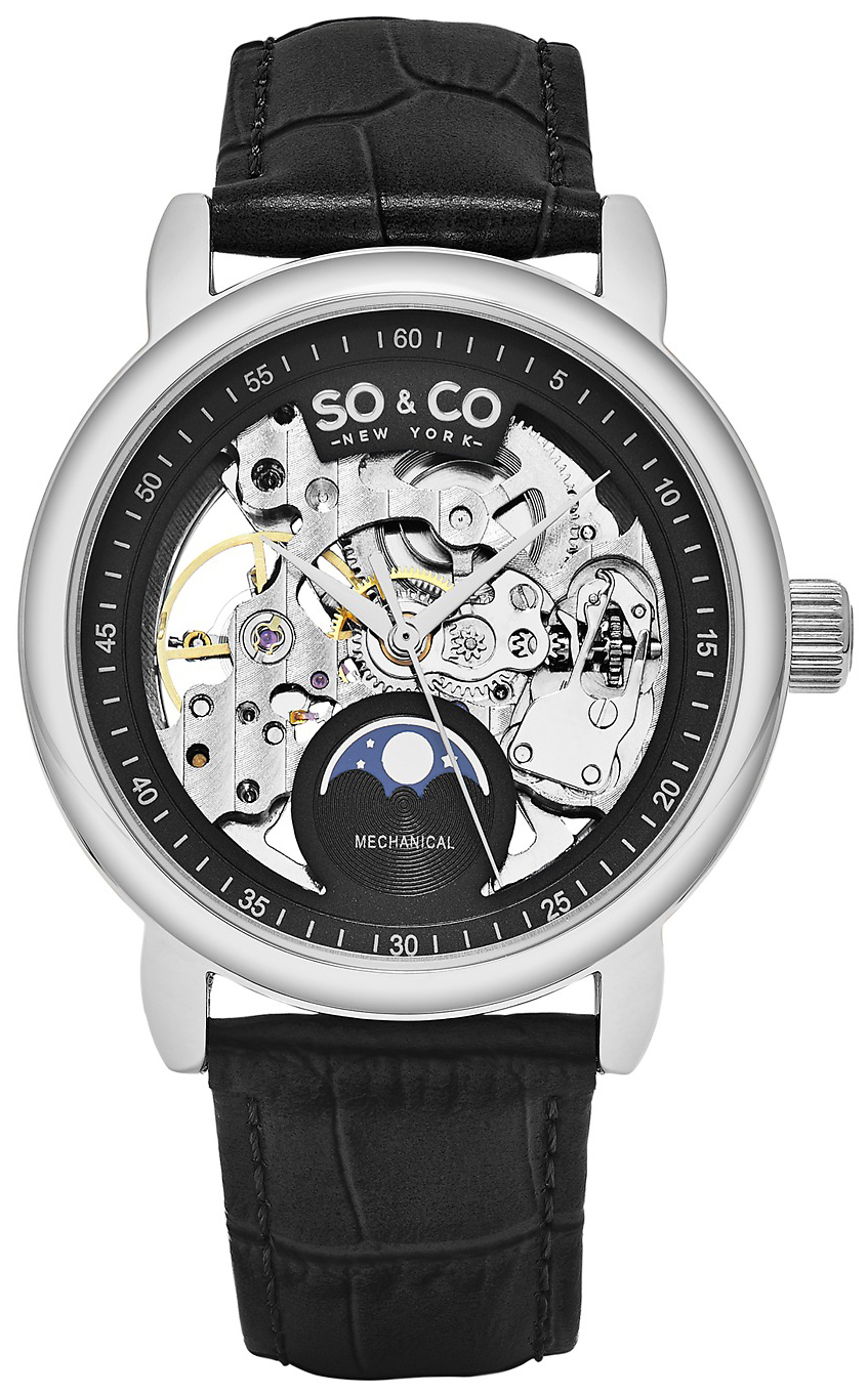 So & Co New York Madison Herreklokke 5420.1 Sort/Lær Ø40 mm - So & Co New York