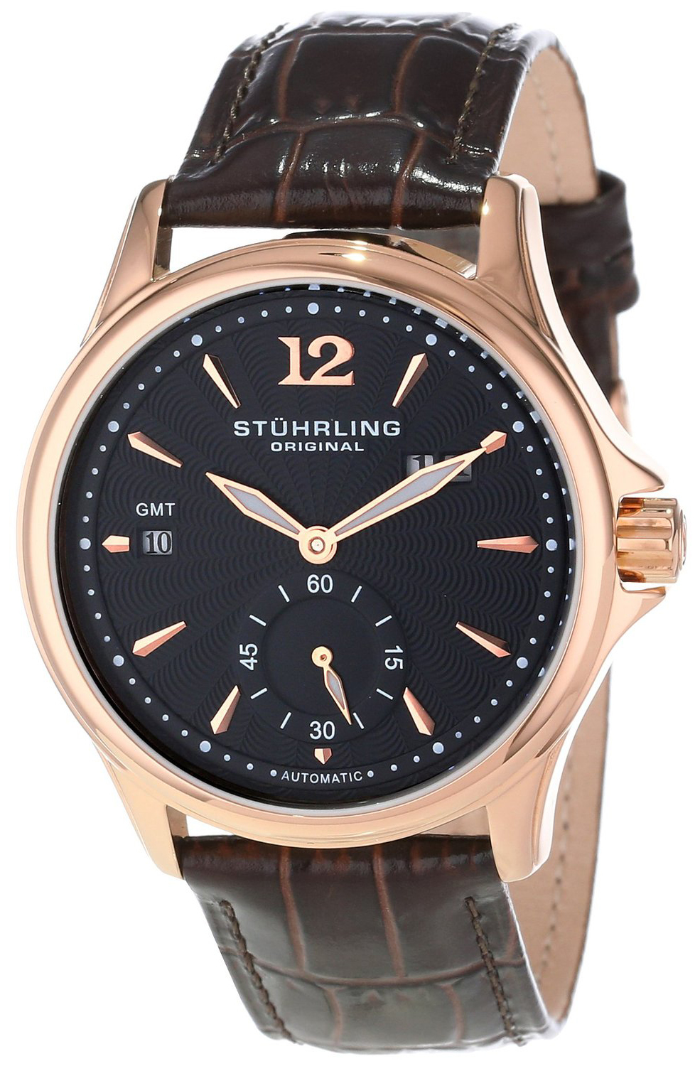 Stührling Original Herreklokke 483.3345K51 Sort/Lær Ø42 mm - Stührling Original