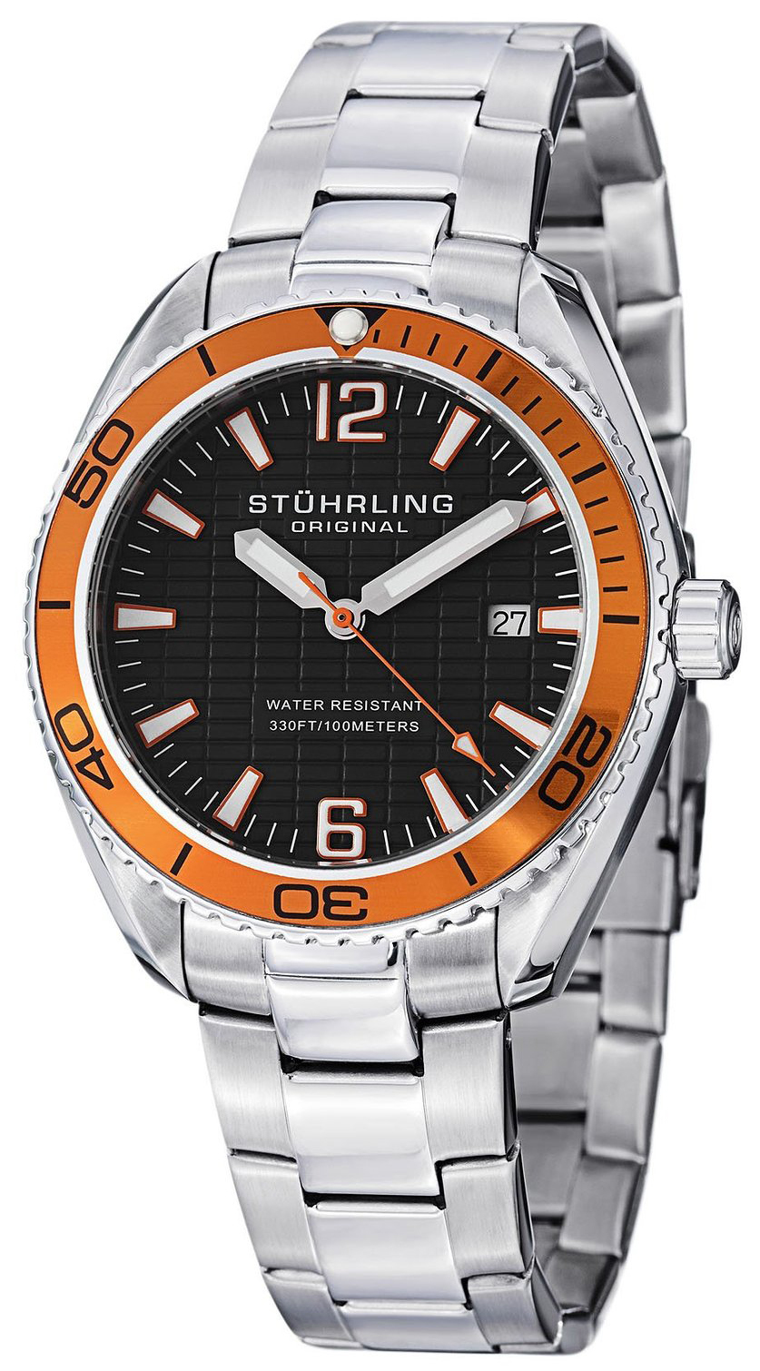 Stührling Original Herreklokke 515.04 Sort/Stål Ø42 mm - Stührling Original