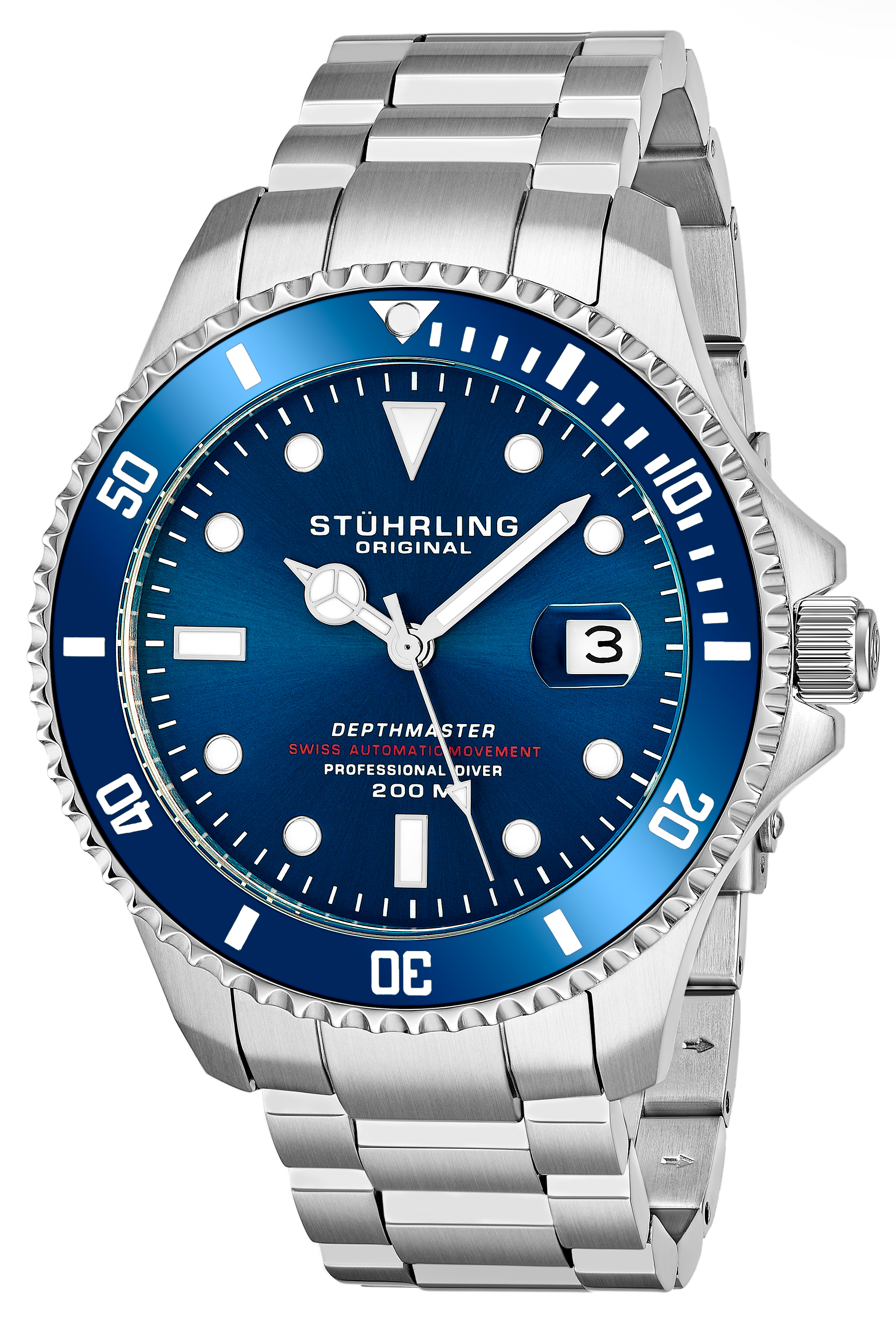 Stührling Original Aquadiver Herreklokke 883.02 Blå/Stål Ø42 mm - Stührling Original