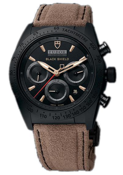 Tudor Fastrider Black Shield Herreklokke 42000CN-0016 Sort/Lær Ø42 - Tudor