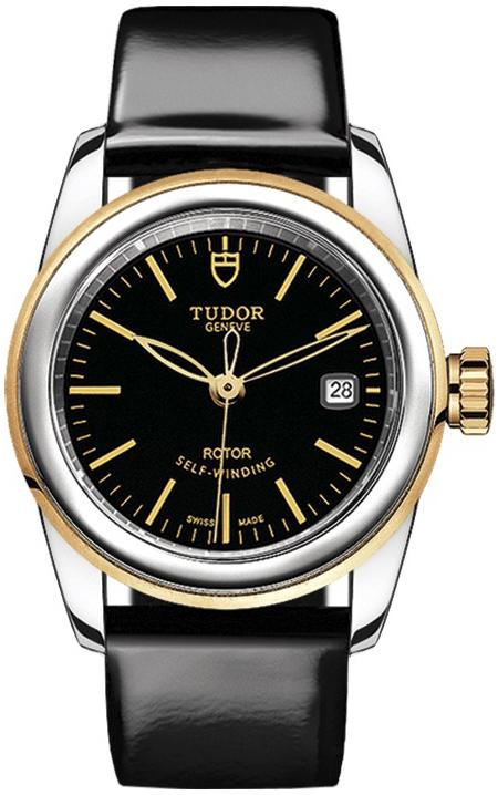 Tudor Glamour Date Dameklokke 51003-0024 Sort/Lær Ø26 mm - Tudor