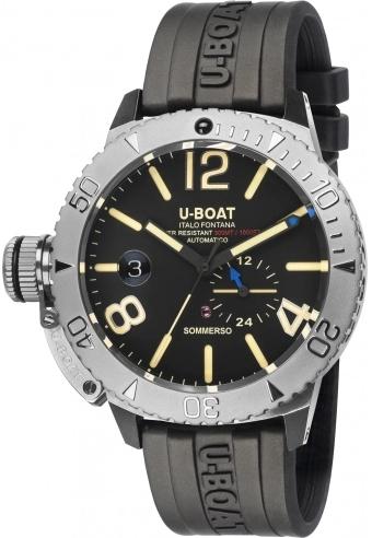 U-Boat Classico Herreklokke 9007/A Sort/Gummi Ø46 mm - U-Boat