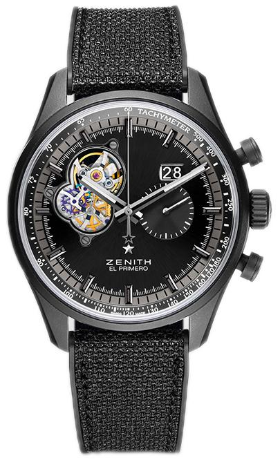 Zenith El Primero Herreklokke 24.2160.4068-21.R573 Sort/Gummi Ø45 mm - Zenith