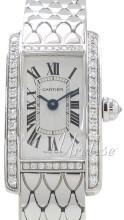 Cartier Tank Americaine Sølvfarget/18 karat hvitt gull