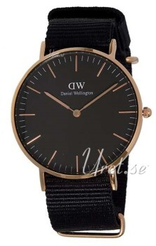 Daniel Wellington Classic Black Cornwall Sort/Rose-gulltonet stål Ø36 mm